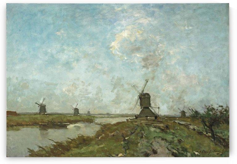 A extensive polder landscape with windmills by Jan Weissenbruch