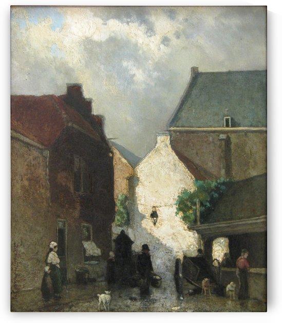 Vismarkt te Den Haag by Jan Weissenbruch