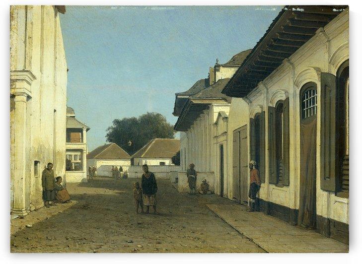 Een straatje in het oude gedeelte van Batavia by Jan Weissenbruch