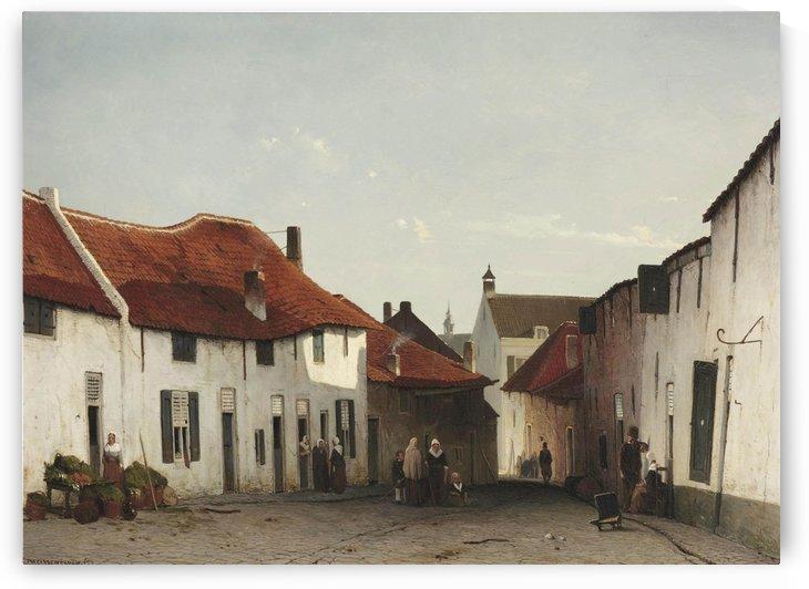 Daily activities in a village street by Jan Weissenbruch