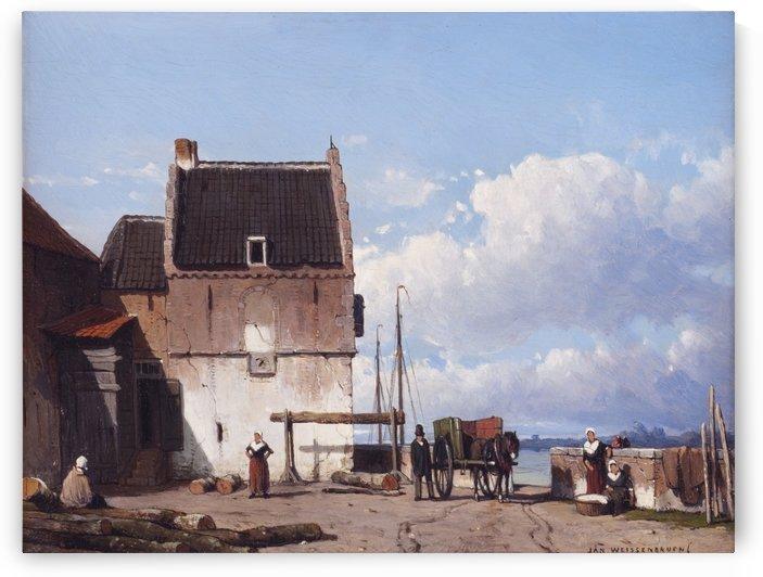 De oude haven met de Bottelpoort in Nijmegen by Jan Weissenbruch