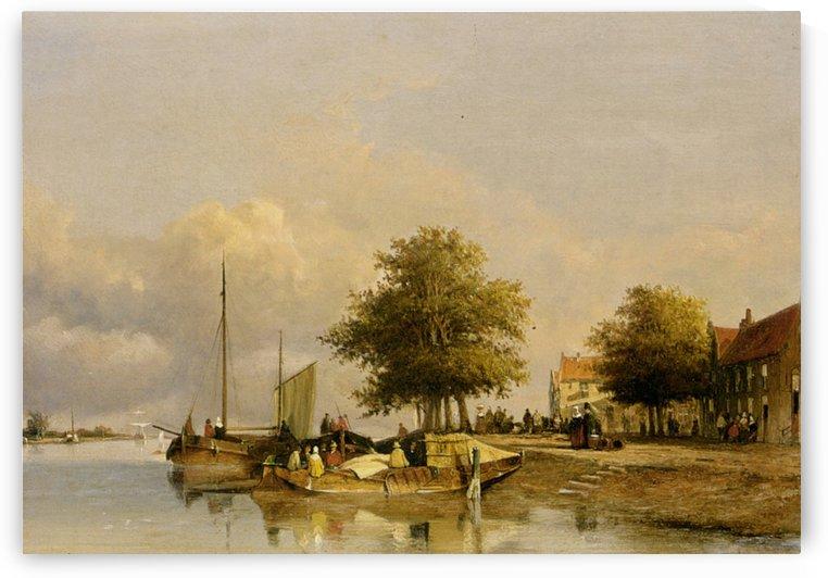 Townsfolk on a quay by Jan Weissenbruch