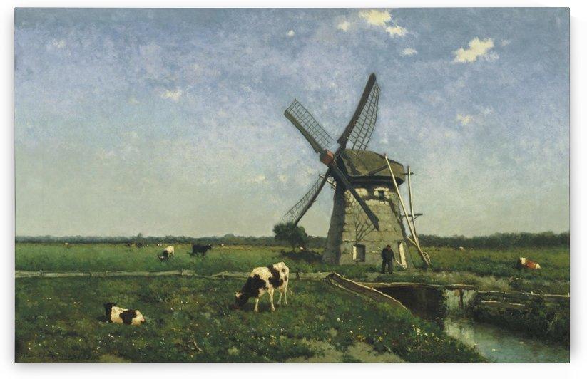 Landscape with Windmill near Schiedam by Jan Weissenbruch
