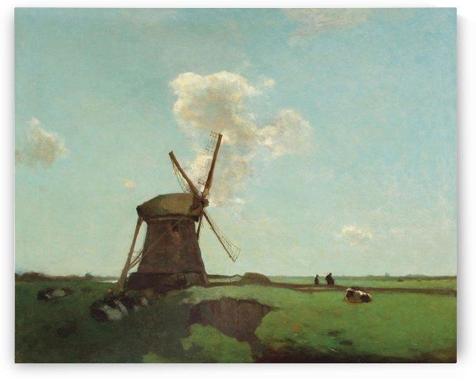 Workers near a wind mill in a Dutch polder landscape, near Noorden by Jan Weissenbruch