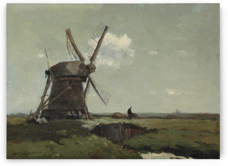 Windmill in a polder landscape, near Noorden by Jan Weissenbruch