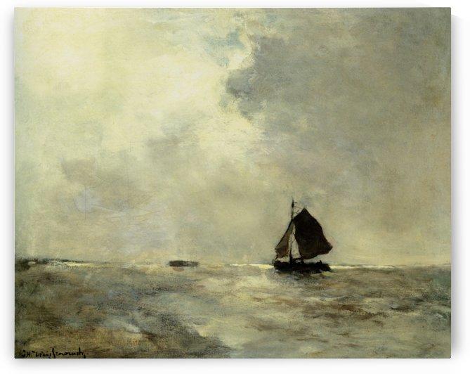 Sailing Boat in Choppy Seas by Jan Weissenbruch