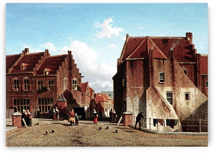 A Market Place with Figures, Culemborg by Jan Weissenbruch