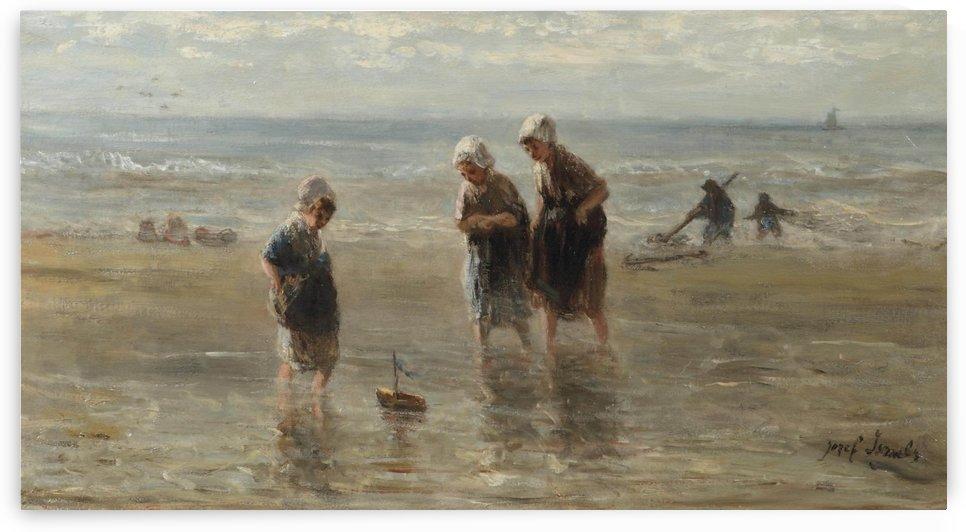 Children playing on the beach by Jan Weissenbruch