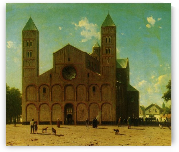 Dutch church with figures on a sunny day by Jan Weissenbruch