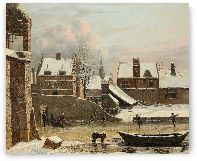 View of a City in Winter with Ice Skaters by Hendrik Gerrit ten Cate