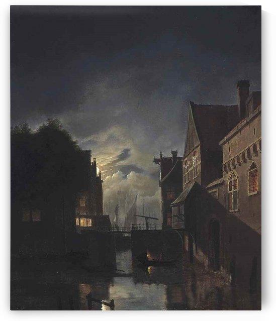 Moonlit landscape of a canal in Amsterdam by Hendrik Gerrit ten Cate
