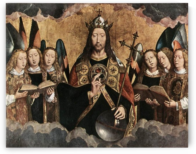 Christ Blessing, central panel from a triptych from the Church of Santa Maria la Real, Najera by Hans Memling