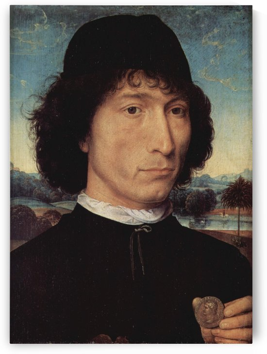 Portrait of a Man holding a coin of the Emperor Nero by Hans Memling