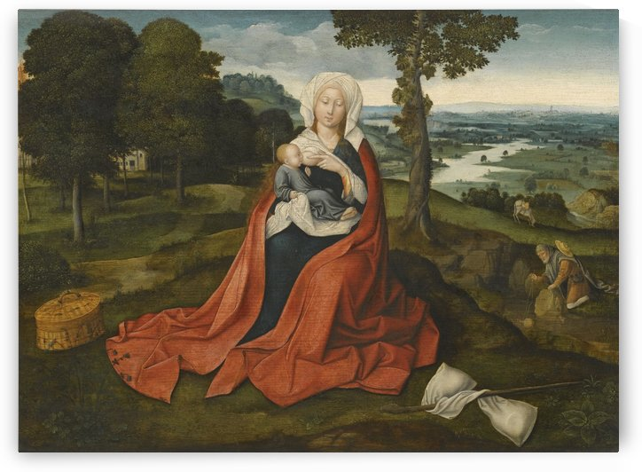 Virgin and Child in beautiful landscape by Hans Memling