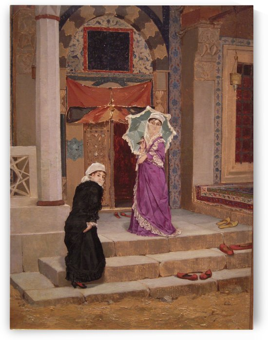 Two ladies at the entrance of a mosque in Constantinople by Osman Hamdi Bey