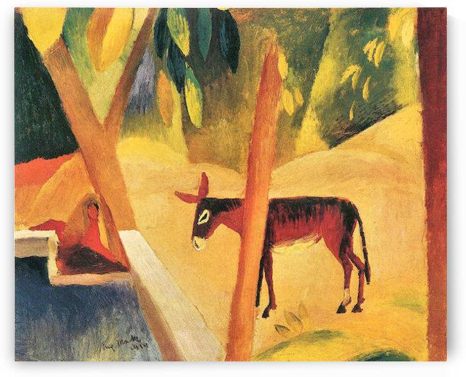 Donkeys in the palms by August Macke by August Macke