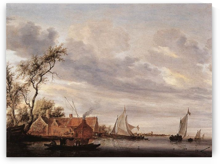 River Scene with Farmstead by Salomon van Ruysdael