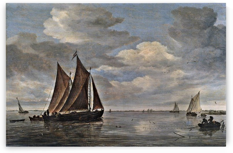 Fishing Boats on a River by Salomon van Ruysdael