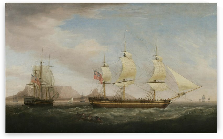 A British East Indiamen in Two Positions by Dominic Serres