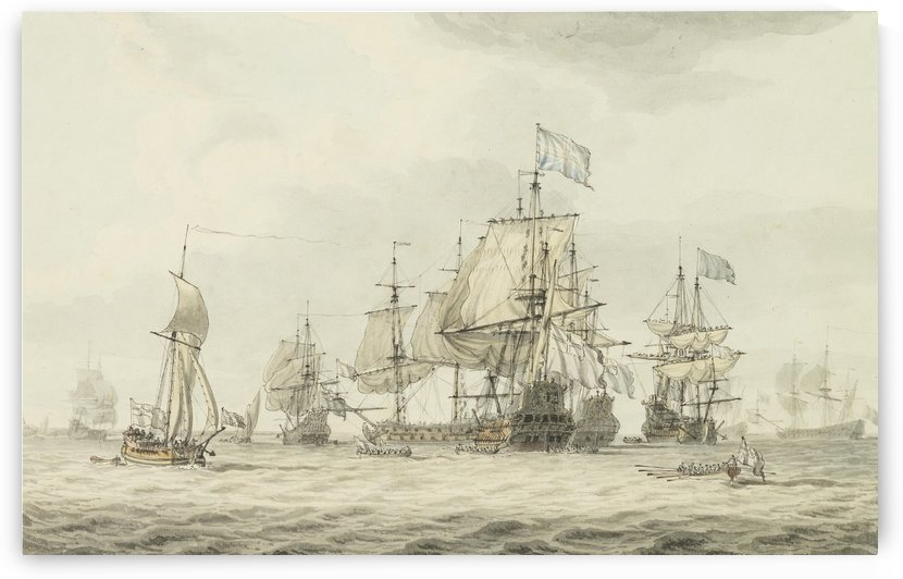 A Squadron of the Fleet making ready to sail by Dominic Serres