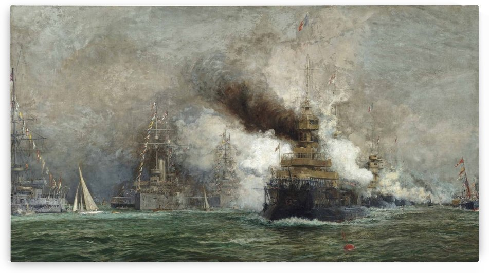 The arrival of the French fleet in Cowes Roads in the summer of 1905 by Dominic Serres