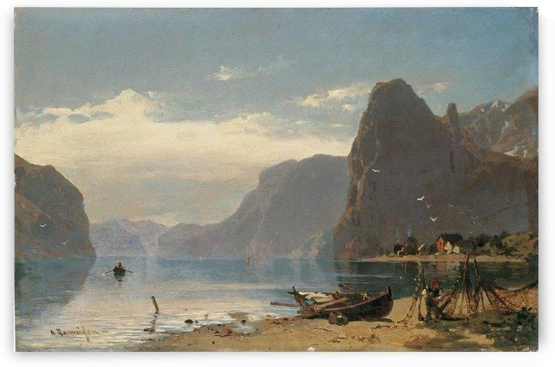 Fjord Landscape with fishermen by Georg Anton Rasmussen