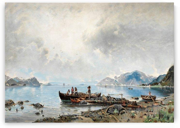 Lastning vid stranden by Georg Anton Rasmussen