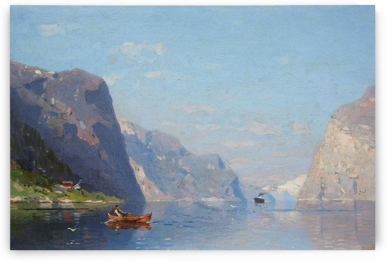 Two Norwegian Fjord Landscapes by Georg Anton Rasmussen