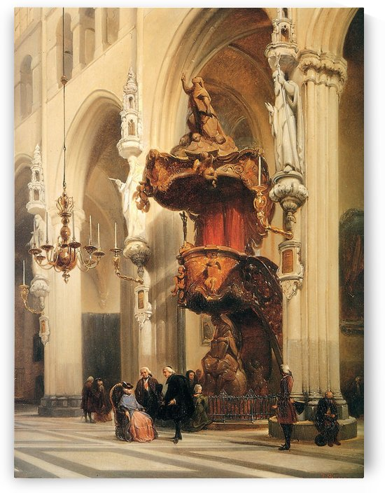 Interior of a church by Johannes Bosboom