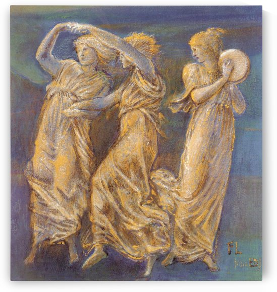 Three Female Figures Dancing And Playing by Sir Edward Coley Burne-Jones