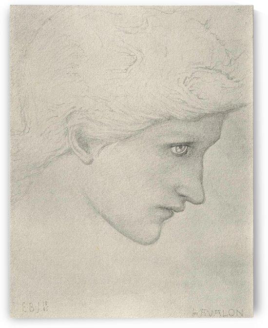 Study of head for Arthur In Avalon painting by Sir Edward Coley Burne-Jones