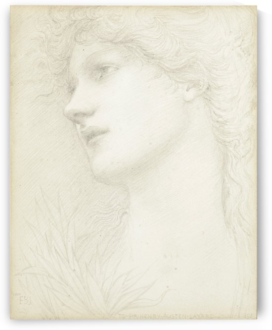 Portrait Study of a Young Girl by Sir Edward Coley Burne-Jones