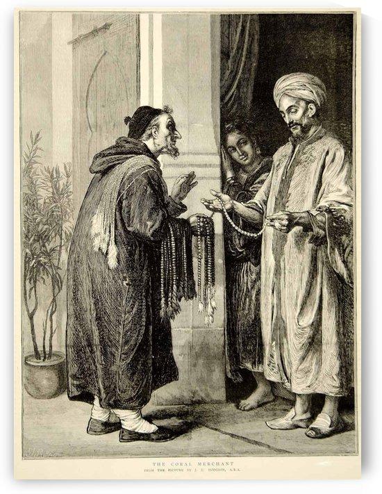 1874 Wood Engraving John Evan Hodgson Art Coral Merchant Portrait Arabic by John Evan Hodgson