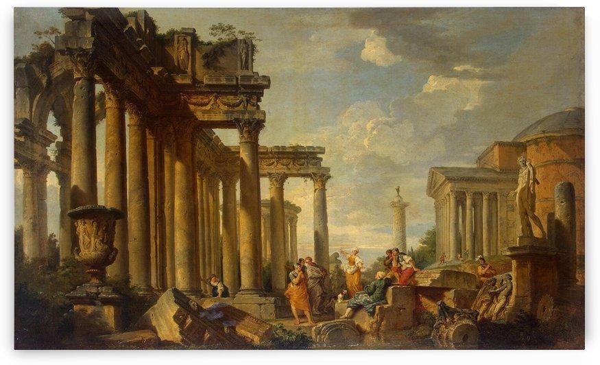 St Sibyl Sermon in Roman Ruins with the Statue of Apollo, 1740 by Giovanni Paolo Pannini