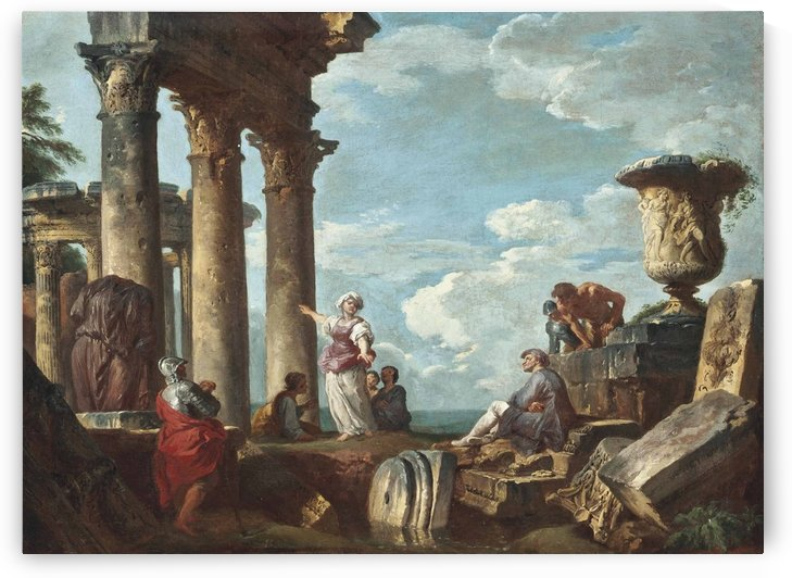 An architectural capriccio with a Sibyl preaching by Giovanni Paolo Pannini