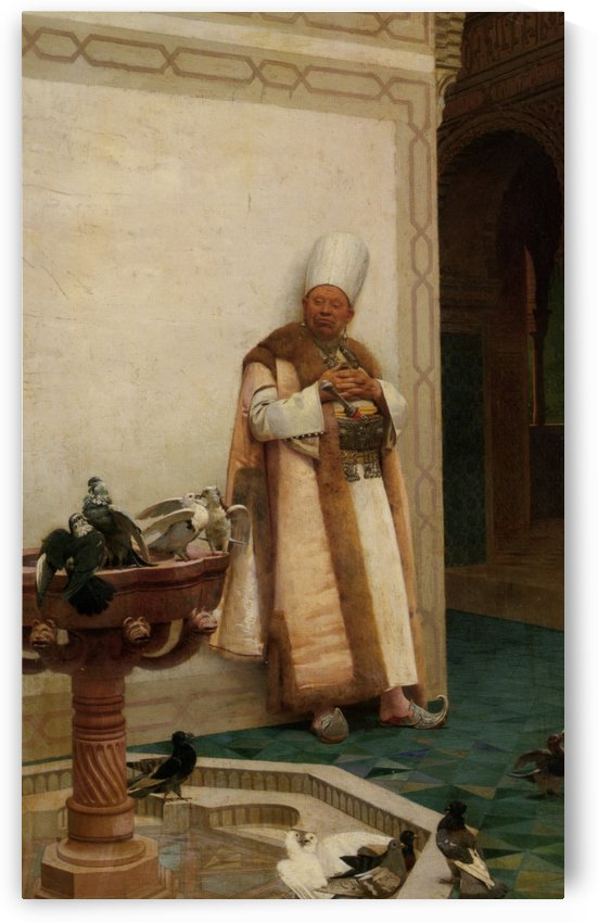 A Grand White Enuch Watching Doves by Jehan-Georges Vibert