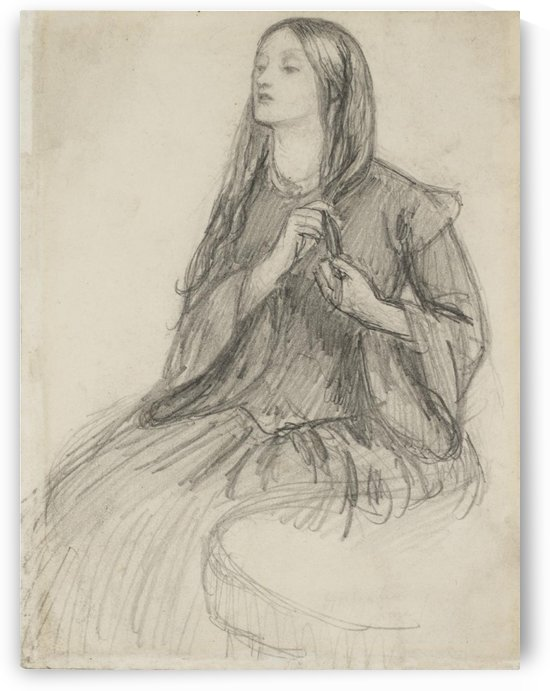 Elizabeth Siddall Plaiting her Hair by Dante Gabriel Rossetti
