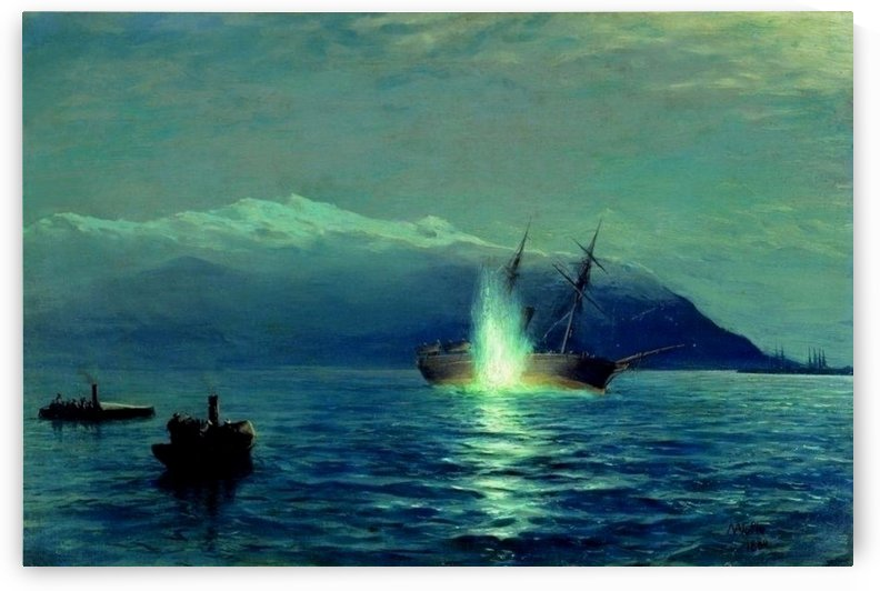 The sinking of the Turkish steamer Intibakh by Lev Lagorio