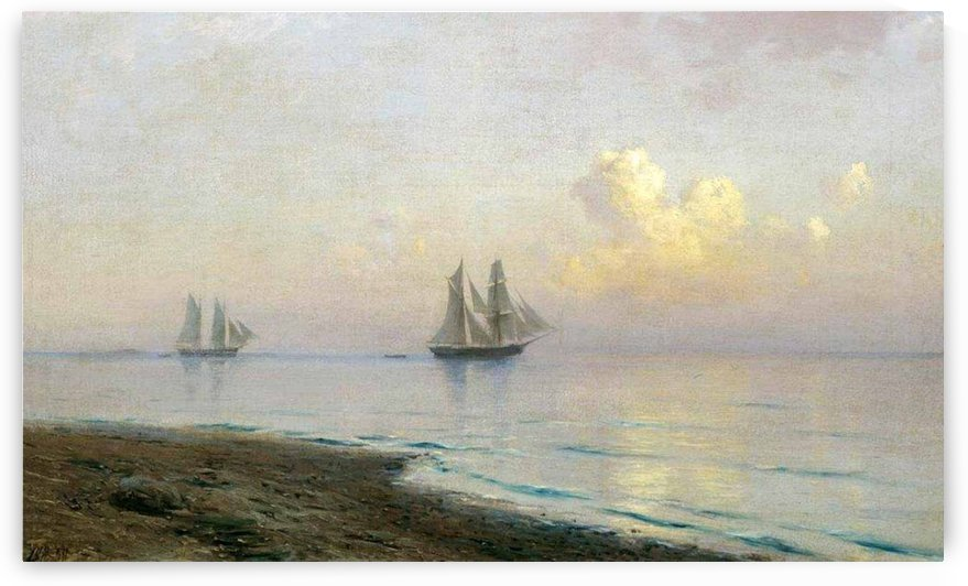 Seascape with sailing ships by Lev Lagorio