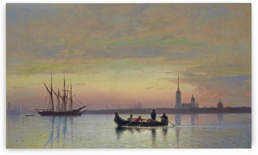 The Neva at dusk, St Petersburg by Lev Lagorio