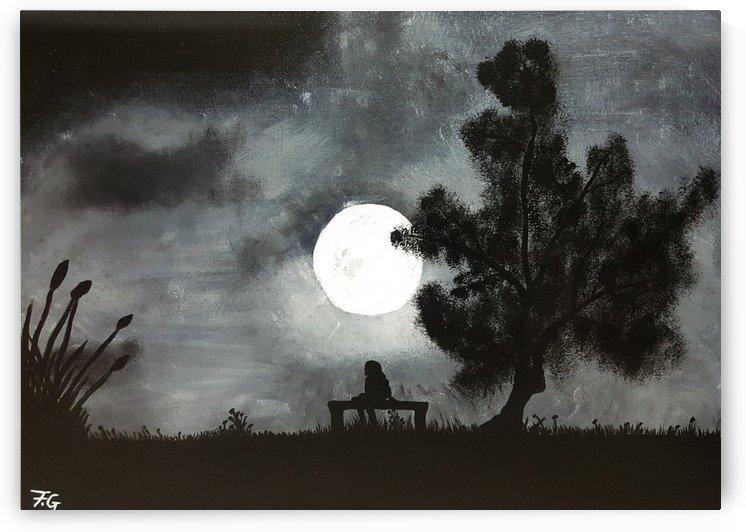 Girl Under Moon by Fatima Geloo