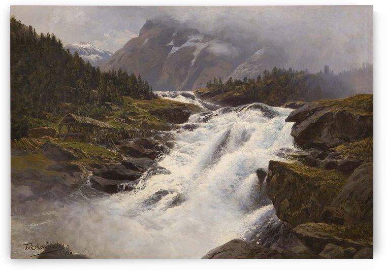 Wasserfall in norwgischer Gebirgslandschaft by Karl Paul Themistokles von Eckenbrecher