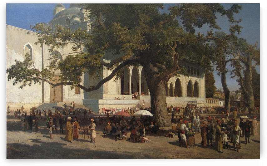 A busy market in the courtyard of the new Mosque in Istanbul by Karl Paul Themistokles von Eckenbrecher