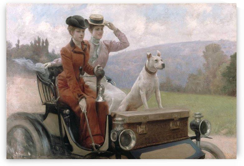 Les Dames Goldsmith au blois de Boulogne en 1897 sur une voiturette by Julius LeBlanc Stewart