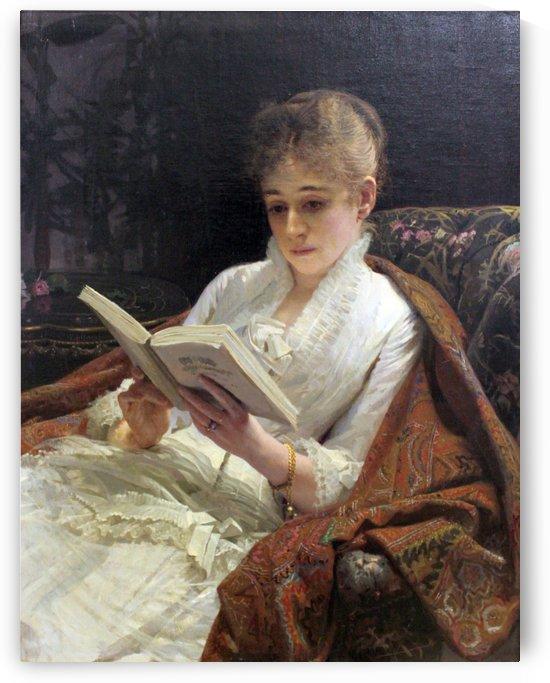 Portrait of a woman reading, 1881 by Ivan Nikolaevich Kramskoi