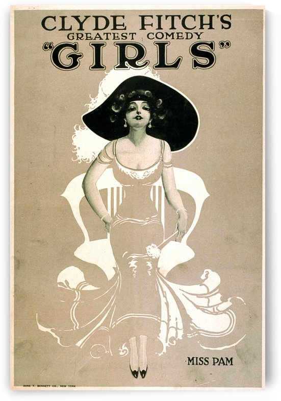 Girls Broadway Show Miss Pam Vintage Poster 1906 by VINTAGE POSTER
