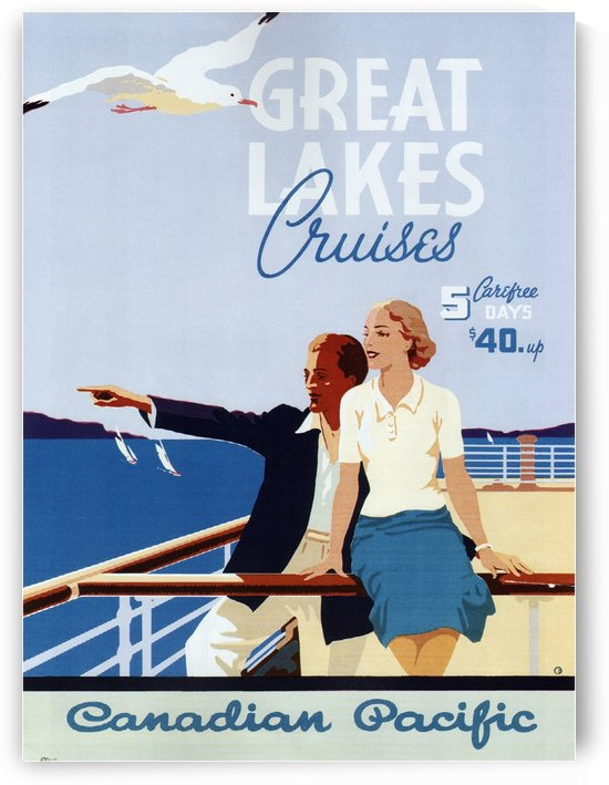 Canadian Pacific Great Lakes Cruises Vintage Travel Poster by VINTAGE POSTER
