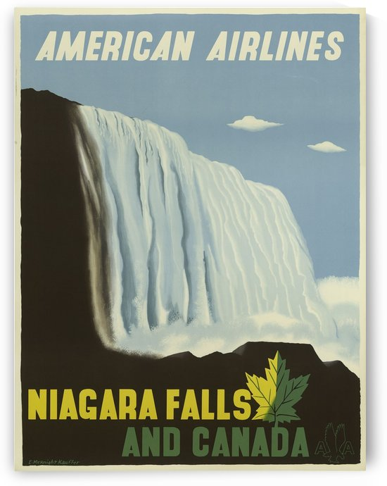 American Airlines Niagara Falls and Canada Poster 1948 by VINTAGE POSTER