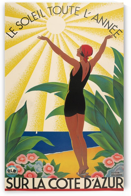 Sun All Year On the Cote dAzur poster in 1931 by VINTAGE POSTER
