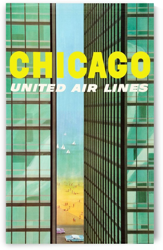 United Airlines Poster for Chicago by VINTAGE POSTER